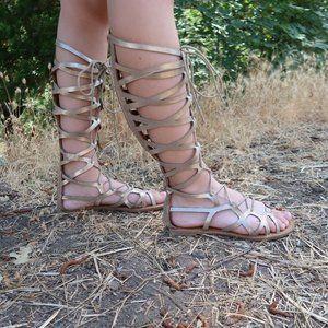 3/$30 Qupid 7 Gold Knee High Gladiator Sandals